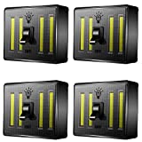 LED Night Light, ANKO 400 Lumen COB Emergency lights Switch Cordless Portable with Battery, Magnetic, Sticker for Camping, Kitchen, Garage, Attic, Night Reading and More (UPGRADED-4 PACK)