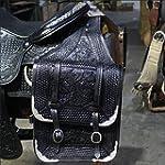 HILASON WESTERN BLACK FLORAL HAND TOOL LEATHER COWBOY TRAIL RIDE HORSE SADDLE BAG