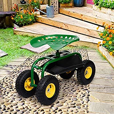 MD Group Red/Green Garden Cart with Heavy Duty Tool Tray, Green