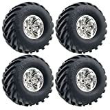 LAFEINA 4PCS 1/10 RC Monster Truck Wheel and Tire Set, Rubber Tyres