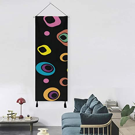 Amazon Com Abstract Retro 60s 70s Circles Squares Art Wall Hanging Wall Art Farmhouse Decor 13 Inch Width X 47 Inch Long Modern Home Decor Hanging Display Wall Patio Tapestry Home Kitchen