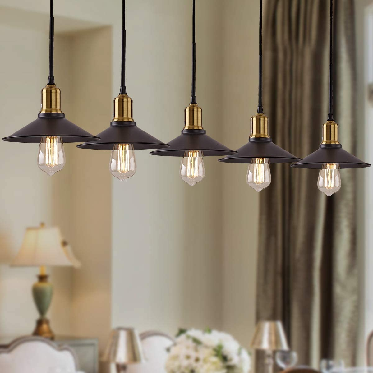 KMM Pendant Lighting 5 Lamp Black Classic Retro Pendant Lighting E12 Suitable for Bedroom Dining Room Bar Aisle Dining Room Widely Used in Pendant Lighting for Kitchen Island