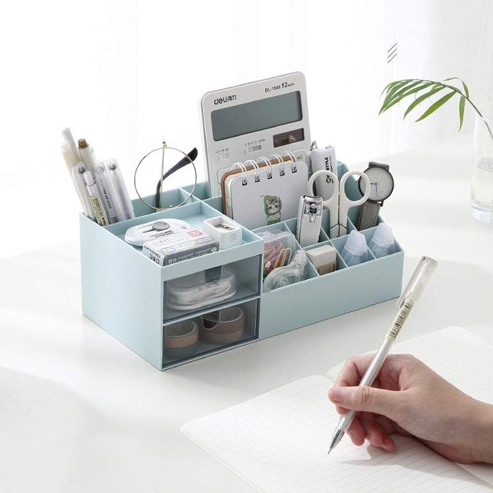 Nordic Creative Desktop Caddy Pen Pencil Holder Bathroom Makeup Brush Container Kitchen Table Tidy Organizer Color : Blue Sunny Lingt Makeup Organiser Large Capacity Storage Case 2 Drawers
