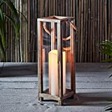 Lights4fun, Inc. 15' Wooden Battery Operated LED Indoor Flameless Candle Lantern with Rope Handle