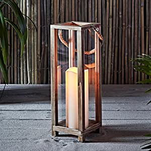 Lights4fun, Inc. Wooden Battery Operated LED Indoor Flameless Candle Lantern with Rope Handle