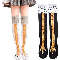 Novedad Calcetines Calcetines de pierna de pollo, 2 pares de calcetines de algodón elásticos hasta la rodilla de…