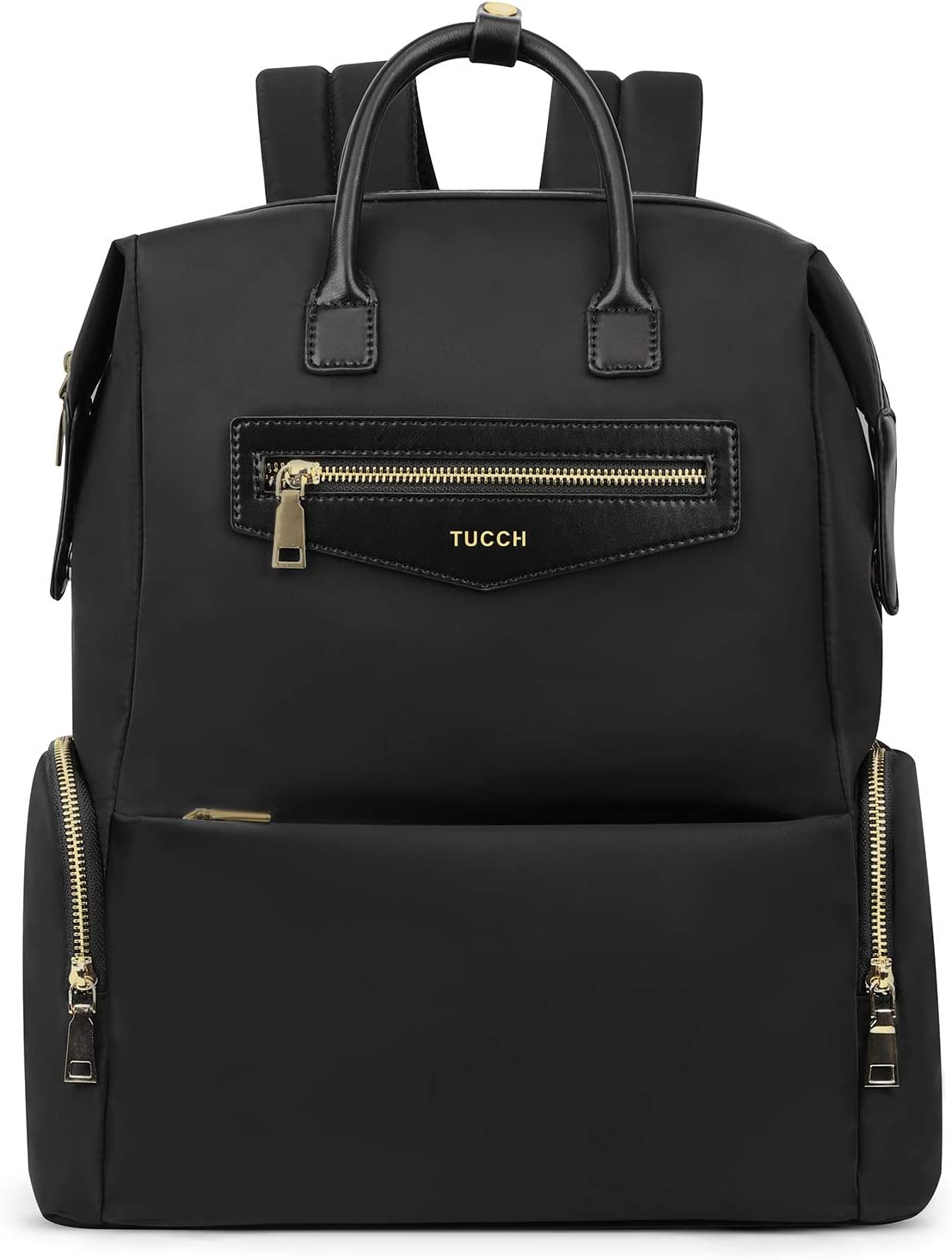 TUCCH Women Laptop Backpack, 14 Inch Business Travel College School Backpack with Luggage Belt, Foldable Lightweight Water Resistant Nylon Casual Daypack Computer Rucksack for Girls 19L, Classic Black