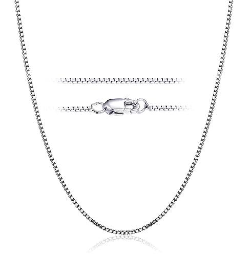 55fc3c2b9a03 Besteel 1mm Collar de Plata de Ley 925 para Mujeres Hombres Cadena Collar  Larga Corchete de Langosta y Caja