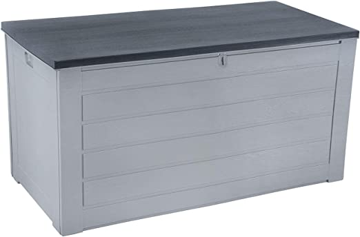 Azuma Extra Large 680 Litres Grey Plastic Garden Deck Box Chest Trunk Furniture Lockable Lid Use Outdoor Or Indoor Home Patio Conservatory Shed Utility Room Garage Gardening Tools Blankets Cushions Amazon Co Uk Garden