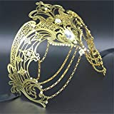Face mask Shield Veil Guard Screen Domino False Front High-end Makeup Dance Christmas Party Photography Props Female Fun Chain Venice Diamonds Metal mask 6
