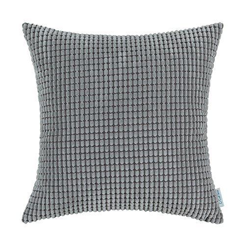 CaliTime Cozy Throw Pillow Cover Case for Couch Sofa Bed Comfortable Supersoft Corduroy Corn Striped Both Sides 20 X 20 Inches Medium Grey