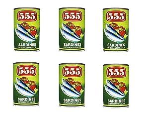 555 Sardines in Tomato Sauce 5.5oz (155g), 6 Pack