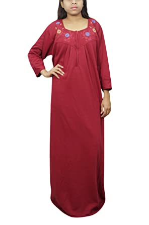ad77651bb3 Indiatrendzs Women Winter Nighty Solid Warm Maroon Maxi Nightgown One Size   Amazon.in  Clothing   Accessories