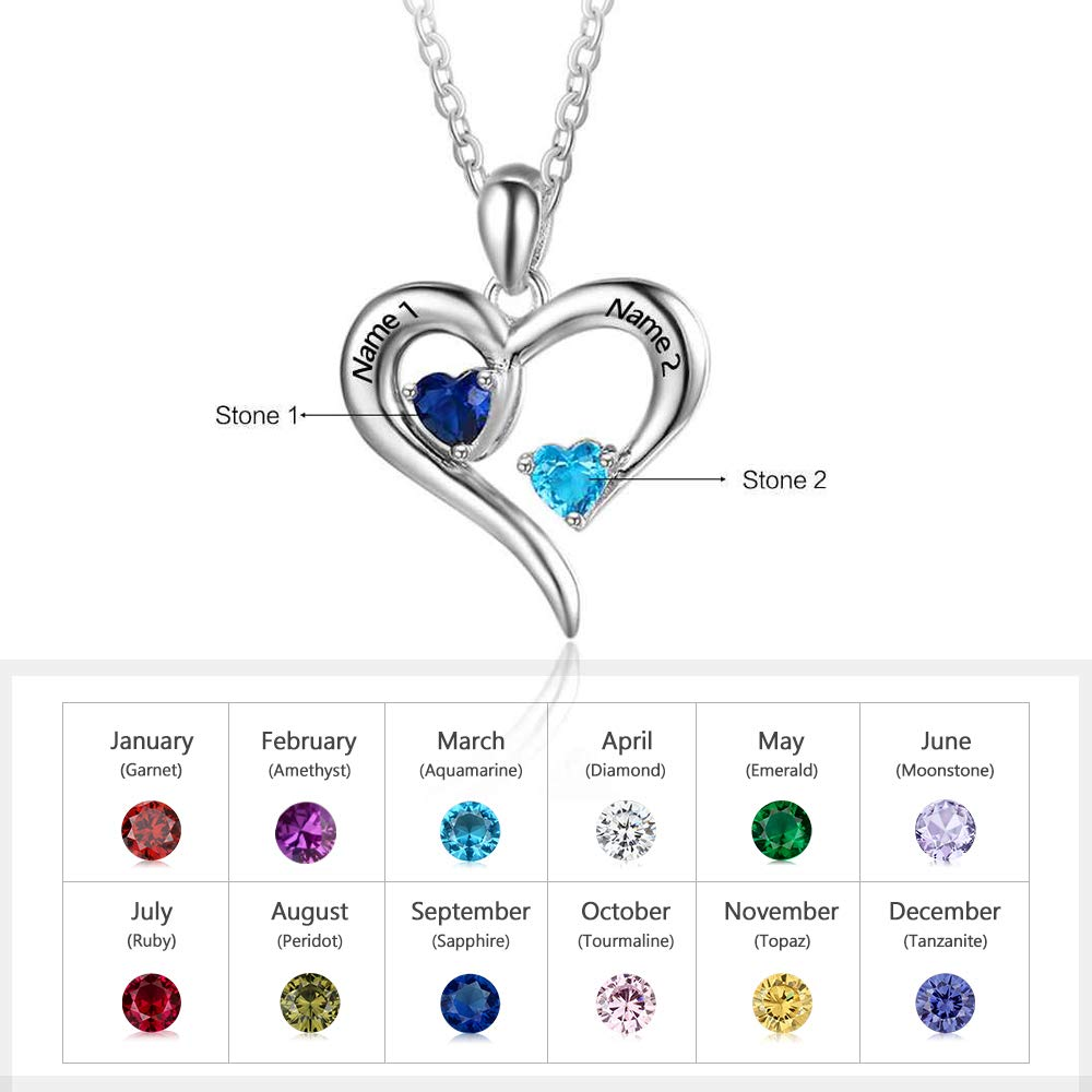 Personalized 2 Names Simulated Birthstones Necklaces 2 Couple Hearts Name Engraved Pendants for Women (Silver) by Lovejewelry