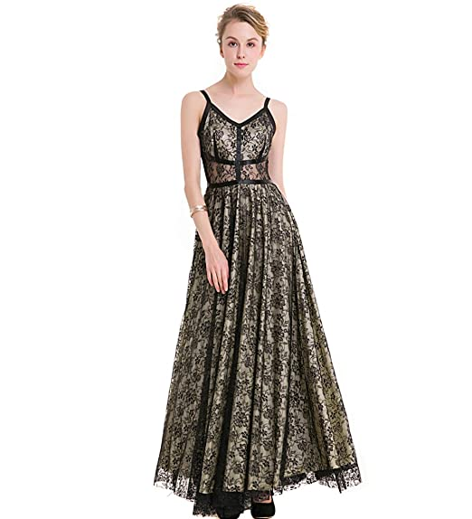 KAXIDY Ladies Black Evening Dresses Gowns Wedding Holiday Maxi Dresses (Small)
