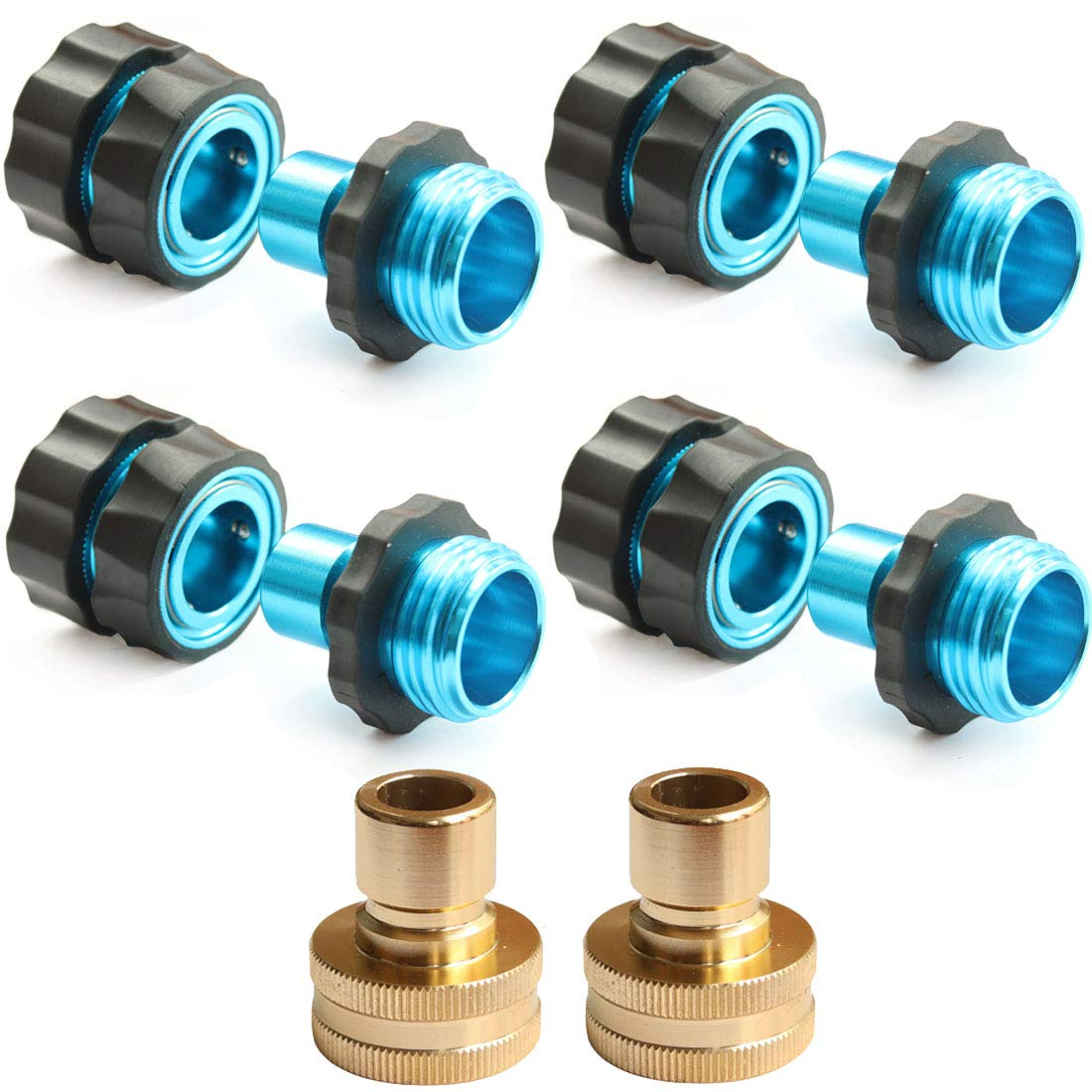 PLG Garden Hose Connectors,4 Male+4 Female+2 Fittings