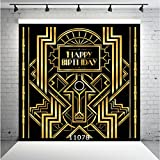 WOLADA 10x10ft Happy Birthday Photography Backdrops Great Gatsby Adults Children Party Black and Gold Golden Banner Photo Studio Booth Photo Background 11078