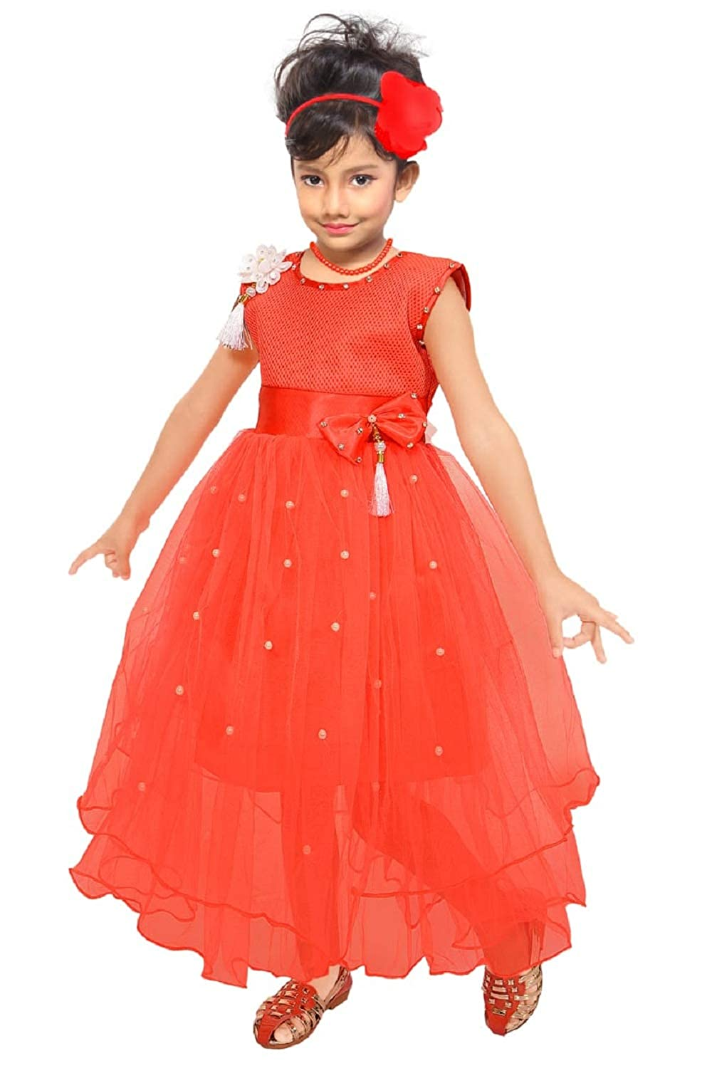 3a78730b91 ARK Cute Baby Fashion Maxi Full Length Dresses Frock Girl s Bright Party  Casual Wear Frock Dress for Baby Girls  Amazon.in  Clothing   Accessories