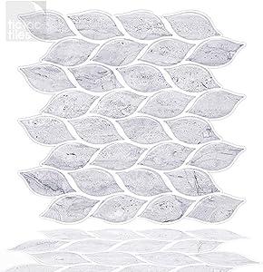 Tic Tac Tiles - Premium Peel and Stick Wall Tile Backsplash in Foglia Design (6, Marble)