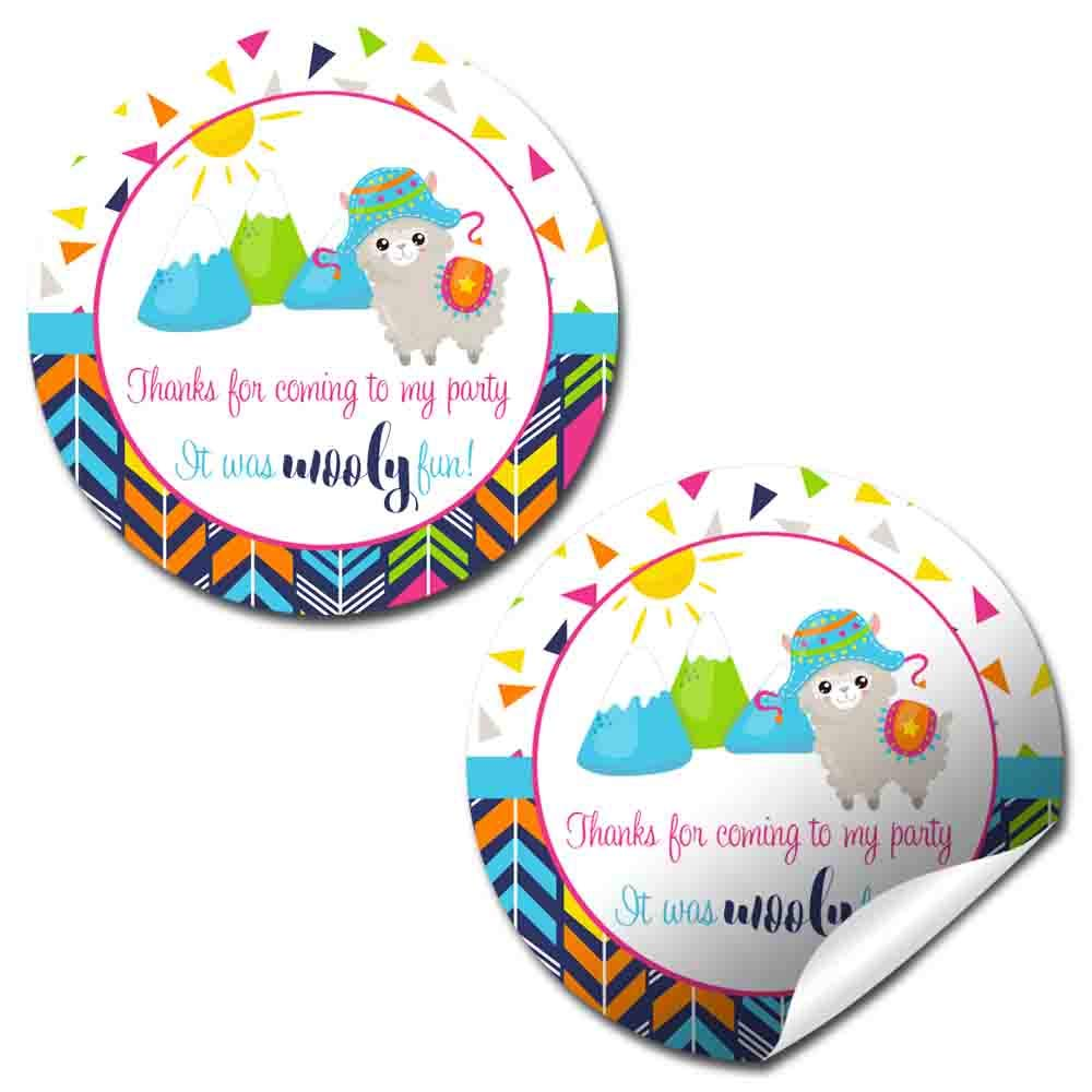 40 2 Party Circle Stickers by AmandaCreation Wooly Fun Alpaca Birthday Thank You Sticker Labels Envelope Seals /& Goodie Bags Great for Party Favors