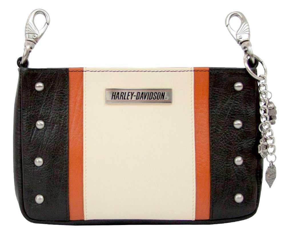 Harley-Davidson Women's Colorblocked Medallion Hip Bag w/ Strap CB9753L-ORGBLK
