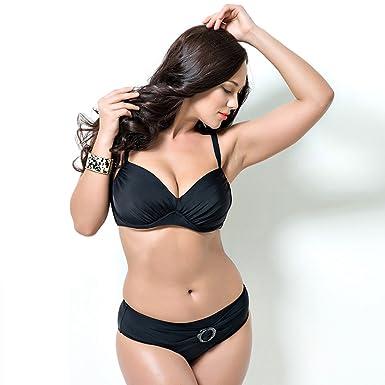 0f7fc31840 Kehuashina Vintage Women s Swimwear Push Up Bikini Bandeau Bathing Suits 2  Piece Swimsuits Black 7XL