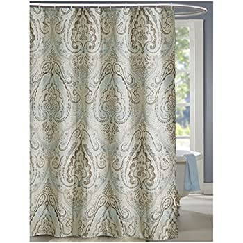 lanmeng extra long fabric shower curtain classic paisley design mildew resistant waterproof multicolor beige brown soft blue 72by78