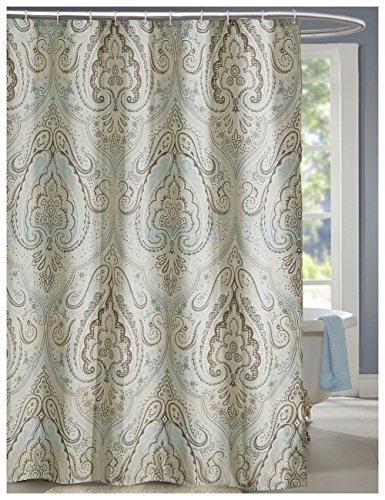 Blue Hawaiian Classic Fabric (LanMeng Fabric Shower Curtain, Classic Paisley Design, Mildew Resistant Waterproof Antibacterial, Multicolor Beige Brown Soft Blue (72-by-72 inches, 1))
