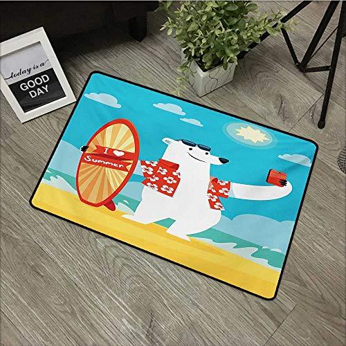 Bathroom mat W35 x L47 INCH Sea Animals,Polar Bear with I Love Summer Surfboard Taking Selfie at Beach Comic Fun Art,Aqua Yellow Easy to Clean, Easy to fold,Non-Slip Door Mat Carpet
