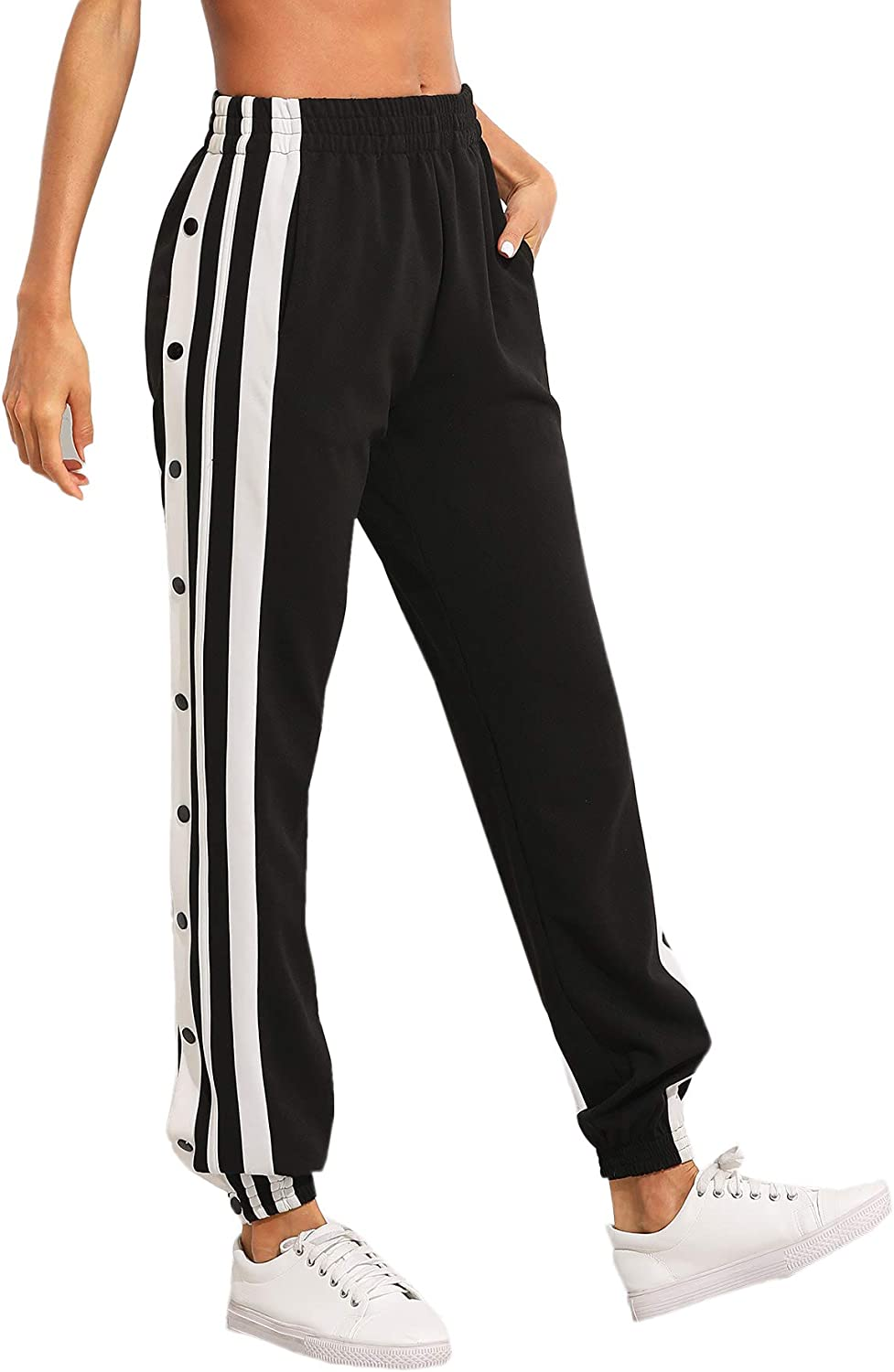 SOLY HUX Womens Sporty High Split Side Striped Joggers Snap Button Track Pants