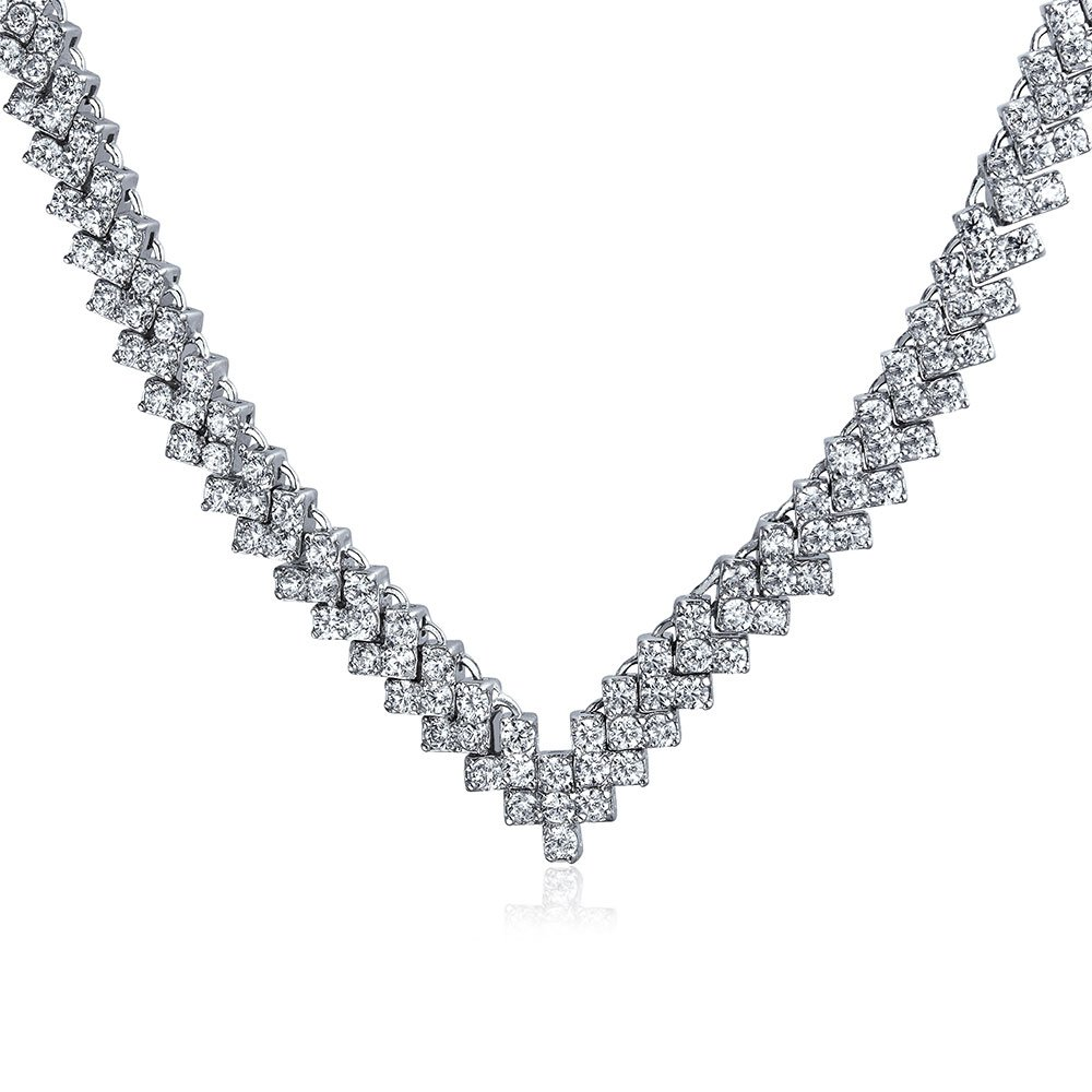 Bling Jewelry Bridal V Shaped CZ Rhodium Plated Tennis Necklace 16 Inches by Bling Jewelry