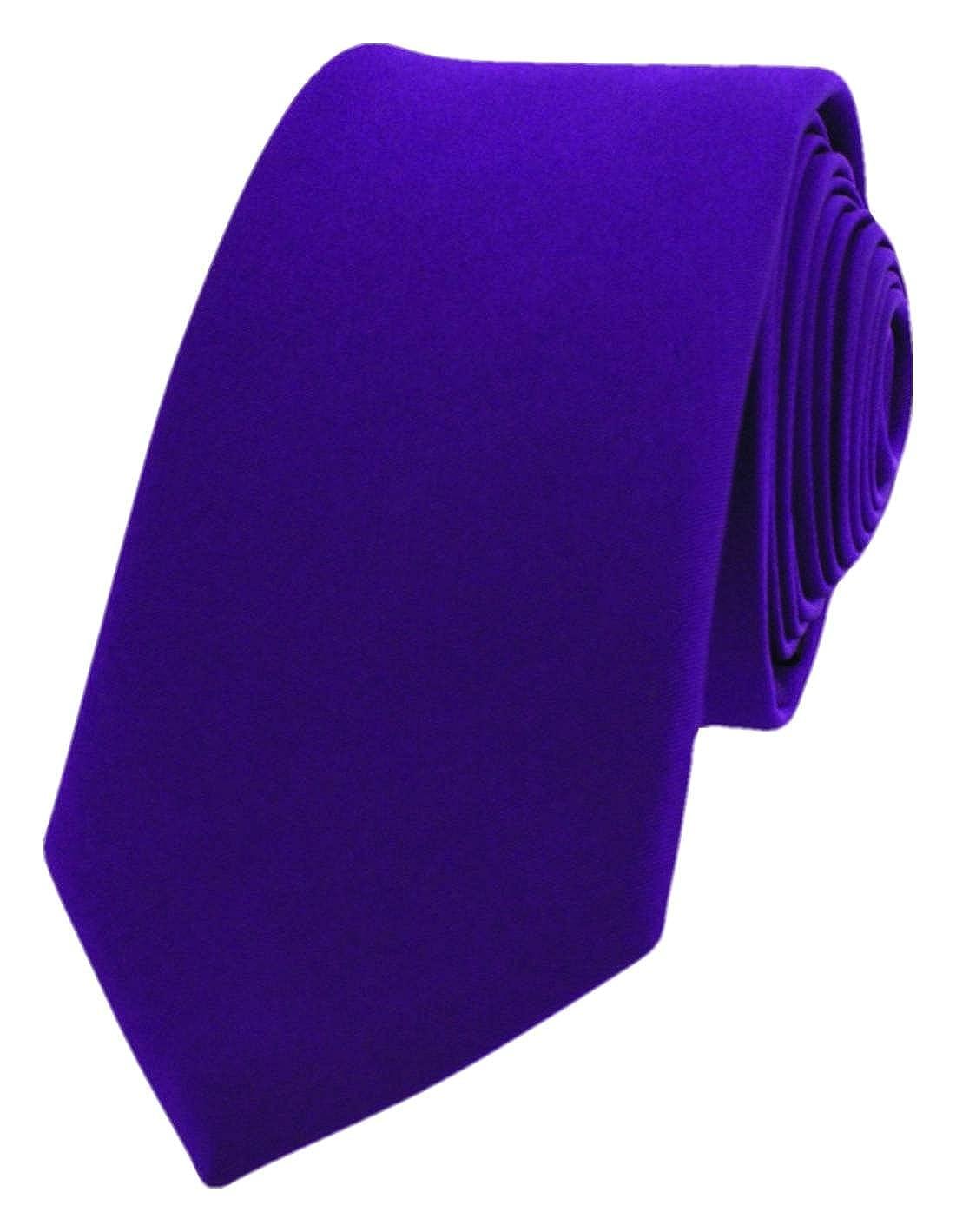 David Van Hagen Mens Luxury Thin Satin Silk Tie Purple