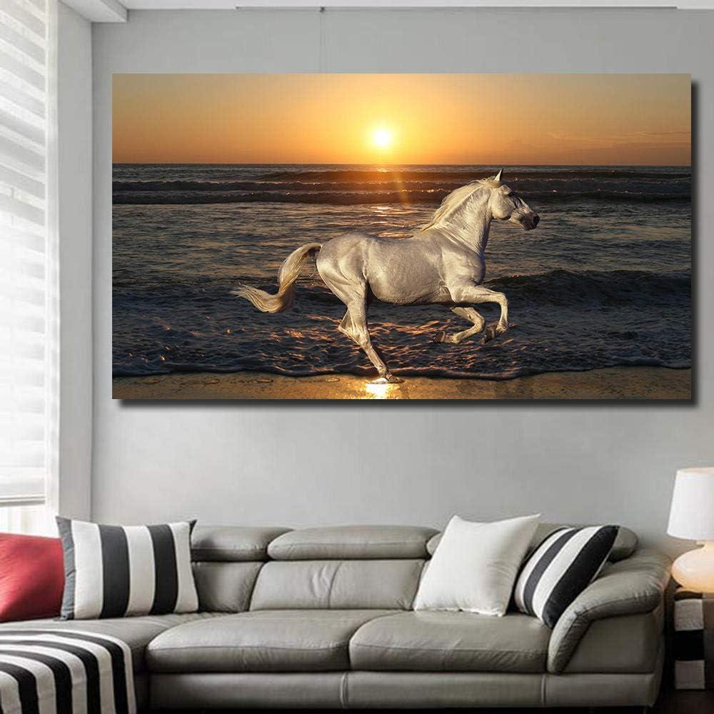 QLCUY HD Cuadro Moderno Imprimir En Lienzo Cae La Noche, Caballos Corriendo por El Mar. Pared Arte Cartel Decoración del Hogar para La Sala De Estar Dormitorio Comedor Sin Marco