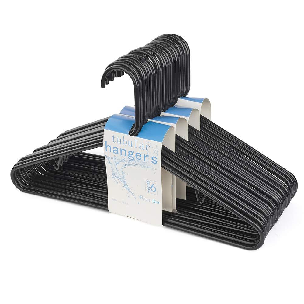 HOUSE DAY Black Plastic Tubular Adult Hangers 16.5 Inch Light-Weight Plastic Hanger 24pcs