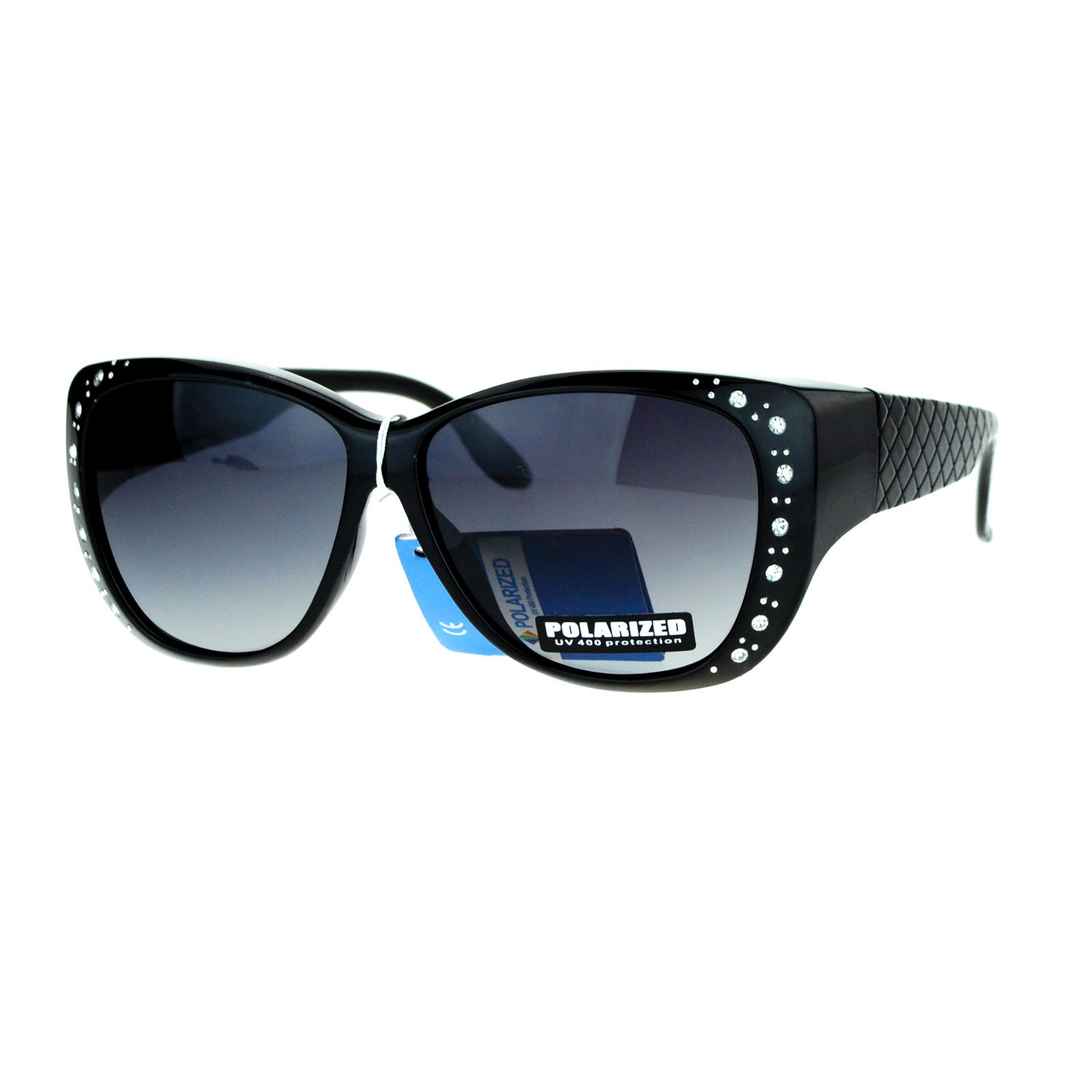 SA106 Polarized 55mm Fit Over OTG Butterfly Rhinestone Diva Sunglasses Shiny Black