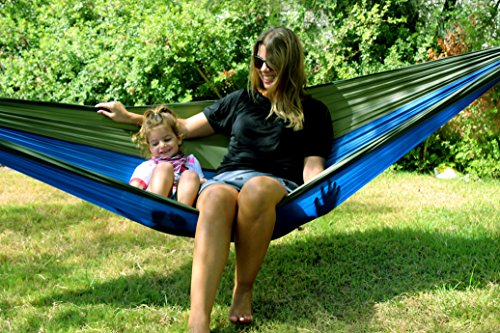 Ripstop Ultralight Parachute Nylon Hammock With 2 Premium Tree Straps. Portable & Compact Single Or Double Size. Best for Camping, Hiking, Backpacking, Trek, Travel & For Kids. Special Compression Bag