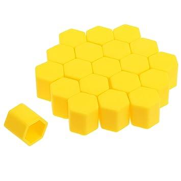 17mm Amarillo 20Piezas La funda de silicona de la rueda del tornillo de tapa para los