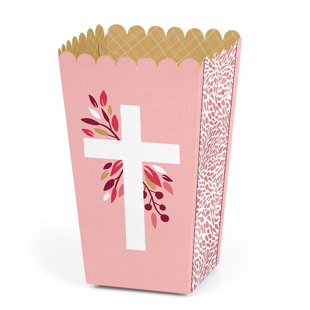 Pink Elegant Cross - Girl Religious Party Favor Popcorn Treat Boxes - Set of 12