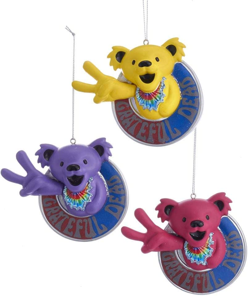 Kurt Adler Grateful Dead Peace Bear Ornaments (Set of 3)