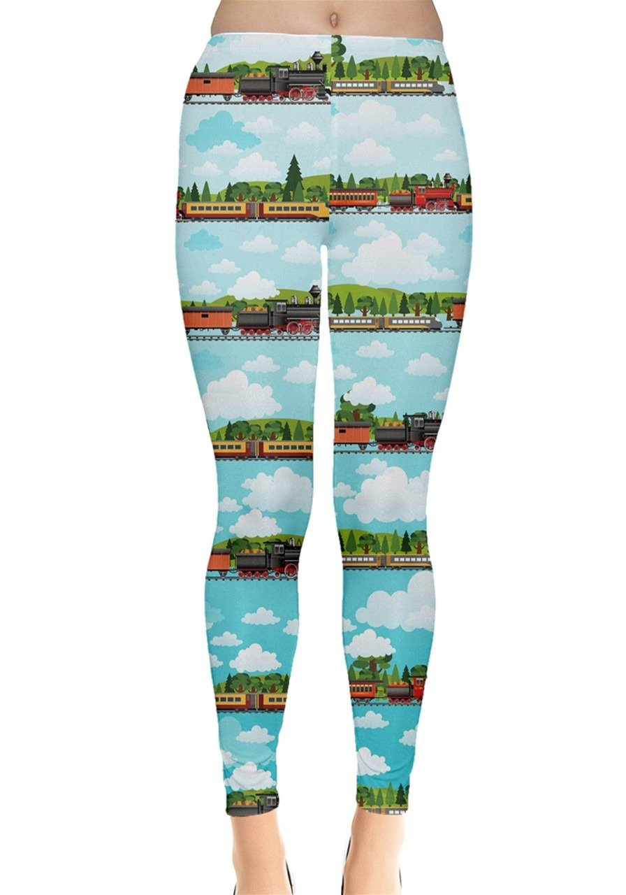 CowCow Womens Travel by Train Leggings, Travel - M