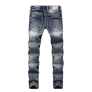Yiiquan Vaqueros Rectos para Hombre, Pantalones de Mezclilla Elástico Ripeado Blanqueado Jeans