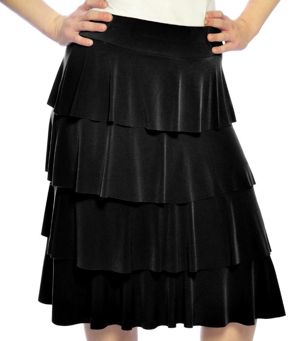 Kids Big Girls' Modest Knee Length Slinky Ruffle Skirt XL Black