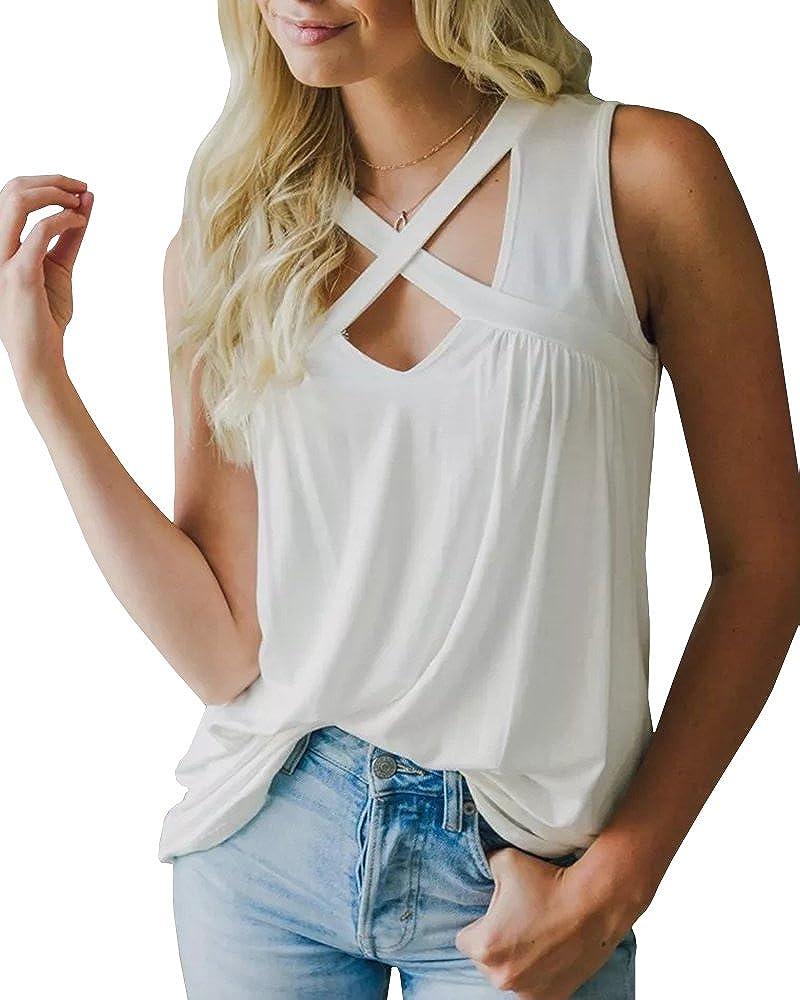 1white LAICIGO Women's Crisscross Cami Shirt Sleeveless V Neck Summer Solid Tank Tops