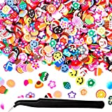 Amariver Fimo Fruit Slices, Cute 3D Fimo Fruit Pattern Slices Decal Polymer Clay Nail Art Tips Stickers Decoration Nailart Tools with a Pick Up Tweezer, Approx 10000 Slices