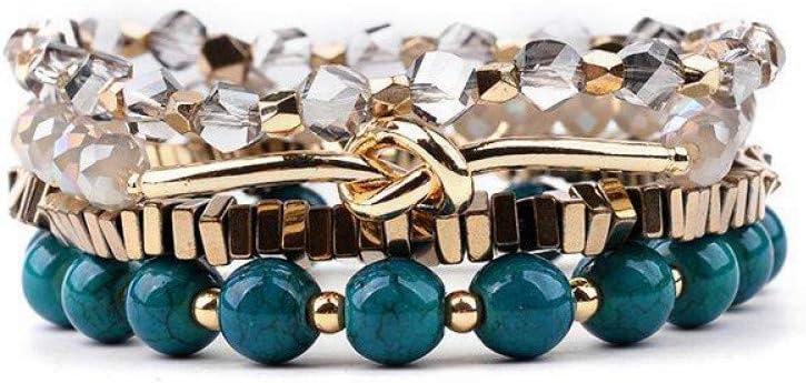 DMUEZW 4 Unids/Set Crystal Tube Beads Pulseras para Mujeres Joyas Gold Hematite Nugget Natural Stone Bracelet Lady