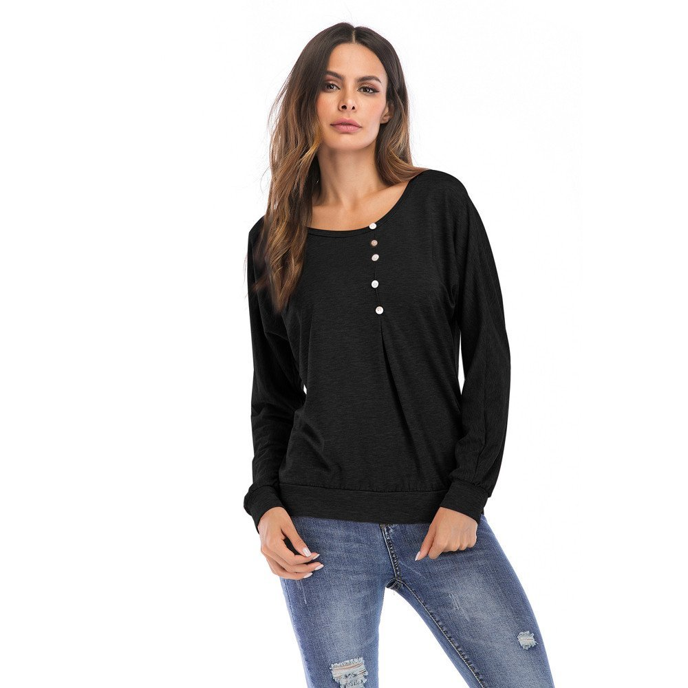 Women's Casual Long Sleeve Solid Shirts Tops Plus Size O-Neckline Loose Pullover Sleeve Top Button Blouse