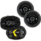 Kicker 43DSC69304 D Series 6x9 Inch 360 Watt 3 Way Dual Speakers with 43DSC6504 6.5 Inch 240 Watt 2 Way 4 Ohm Car Audio Coaxi