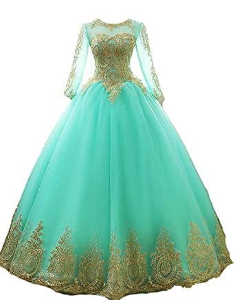 BessDress Gold Lace Appplique Quinceanera Dresses Long Sleeves Prom ...
