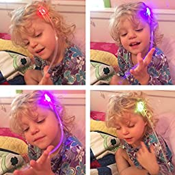 Etekcity LED Hair Lights for Party Favors, Light Up Toys with Flashing Hair Fiber Optic Extension Barrettes 15 Pack