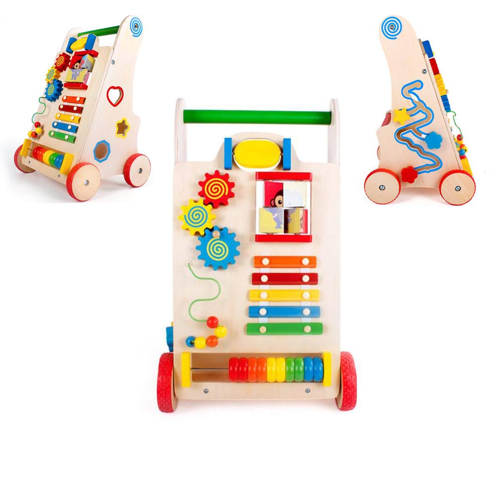 HiKid Toy Park Ponny Wooden Baby Walker Toys with Shape Sorters Help Baby Walking Trolley Easily Funny Activity for 7-14 Months Little Baby